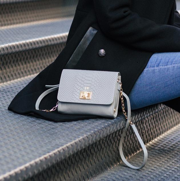 Catie Crossbody Bag in Slate embossed python, GiGi New York