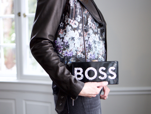 close-up of Parker jacket and Milly BOSS clutch