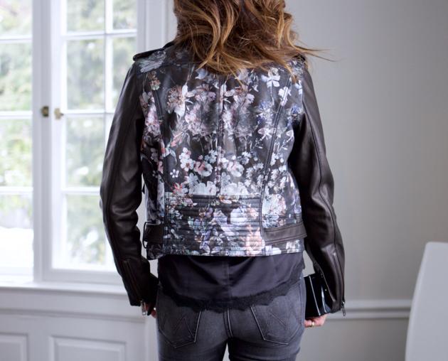 back view of Parker floral print Cooper Jacket